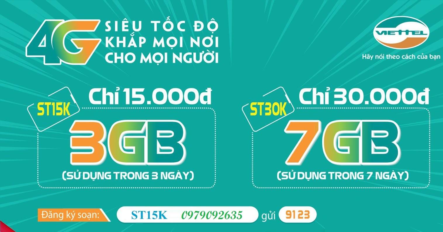 Đăng ký 4G Viettel Gói Cước ST15K