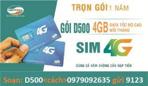 Đăng Ký Gói Cước 3G 4G Viettel Dcom D500