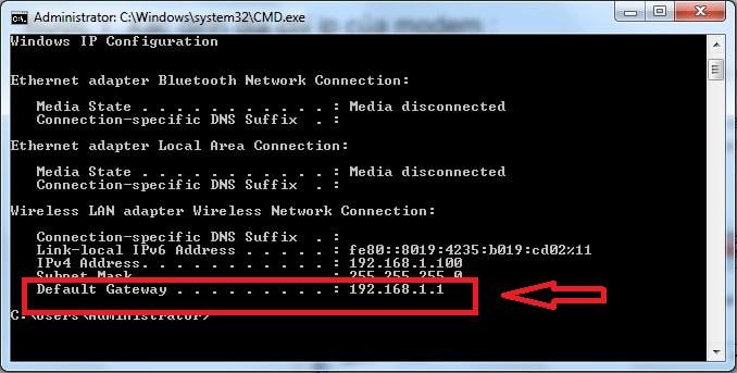 Nhập dòng lênh Ipconfig tìm địa chỉ truy cập modem wifi