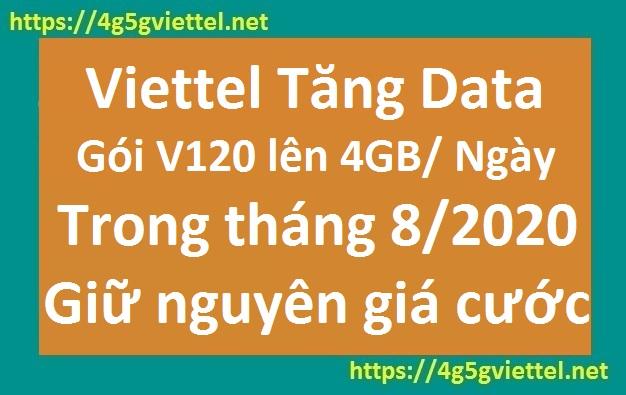 Viettel Tăng Data Gói V120 Lên 4GB 1 Ngày